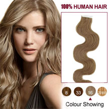 "20"" Golden Blonde (#16) 20pcs Wavy Tape In Human Hair Extensions"