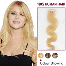 18 inches Ash Blonde (#24) 20pcs Wavy Tape In Human Hair Extensions