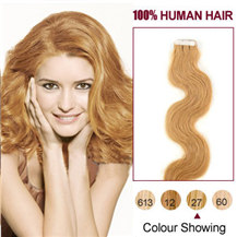20 inches Strawberry Blonde (#27) 20pcs Wavy Tape In Human Hair Extensions