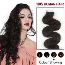 28 inches Dark Brown (#2) 20pcs Wavy Tape In Human Hair Extensions