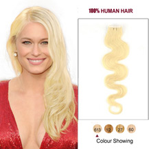 20 inches Bleach Blonde (#613) 20pcs Wavy Tape In Human Hair Extensions