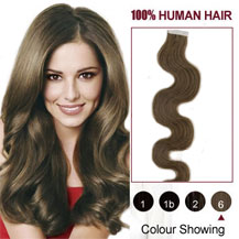 18 inches Light Brown (#6) 20pcs Wavy Tape In Human Hair Extensions