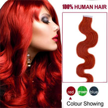 20 inches Red 20pcs Wavy Tape In Human Hair Extensions
