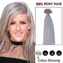 """20"""" Grey 50s Nail Tip Human Hair Extensions"""