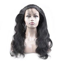 "18"" 360 Natural Black Body Wave Full lace Human closure wig"