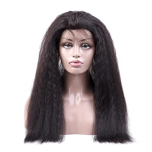 "16"" 360 Natural Black Kinky Yaki Straight Full lace Human closure wig"