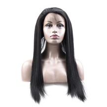 20 inches 360 Natural Black Straight Full lace Human closure wig