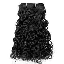 18 inches Jet Black (#1) Curly Indian Remy Hair Wefts