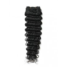10 inches Jet Black (#1) Deep Wave Indian Remy Weave Hair