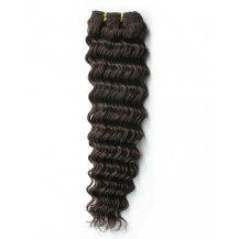 24 inches Dark Brown (#2) Deep Wave Indian Remy Hair Wefts