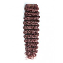 14 inches Dark Auburn (#33) Deep Wave Indian Remy Hair Wefts