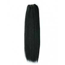 24 inches Jet Black (#1) Straight Indian Remy Hair Wefts