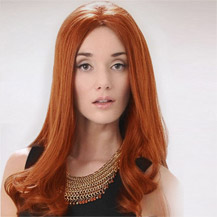 18 inches Human Hair Lace Front Wig Wavy Light Auburn