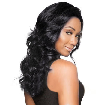 16 inches Human Hair Full Lace Wig Wavy Jet Black
