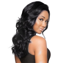 "16"" Human Hair Full Lace Wig Wavy Jet Black"