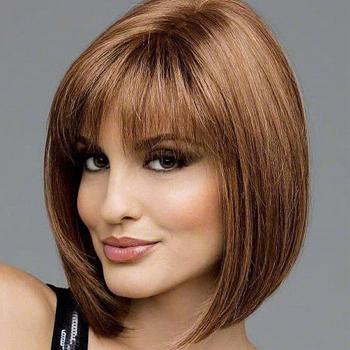 10 inches Human Hair Full Lace Wig Straight Dark Auburn