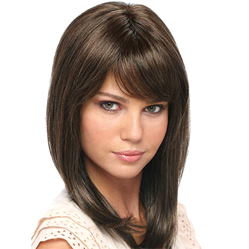 12 inches Human Hair Full Lace Wig Straight Dark Brown