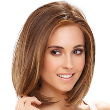 12 inches Human Hair Lace Front Wig Straight Brown Highlight