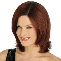 10 inches Human Hair Lace Front Wig Wavy Dark Auburn