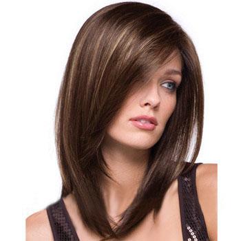 14 Human Hair Full Lace Wig Straight Medium Brown Wigs