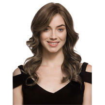 22 inches Human Hair Full Lace Wig Wavy Ash Brown