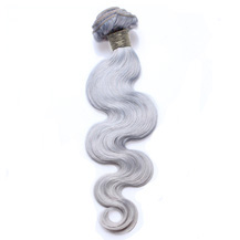 "18"" Silver Grey Hair Extensions Body Wave Gray Hair Weaves"