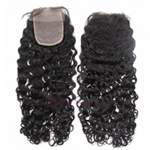 10 inches Natural Black Curly Virgin Brazilian Remy Hair Lace Closure