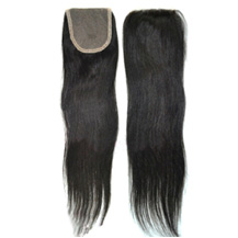 "18"" Natural Black Straight Virgin Brazilian Remy Hair Lace Closure"