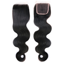 "20"" Natural Black Wavy Virgin Brazilian Remy Hair Lace Closure"